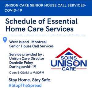 Schedule of Essential Services-senior care-unison care