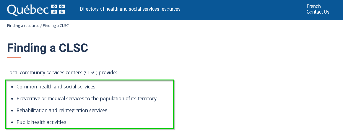 Finding a CLSC - Directory of health and social services resources